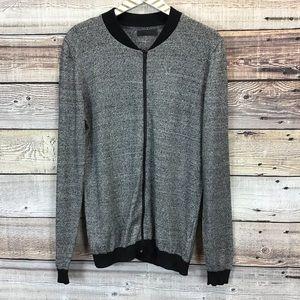 asos Mens XL Gray Black Marled Zip Up Cardigan
